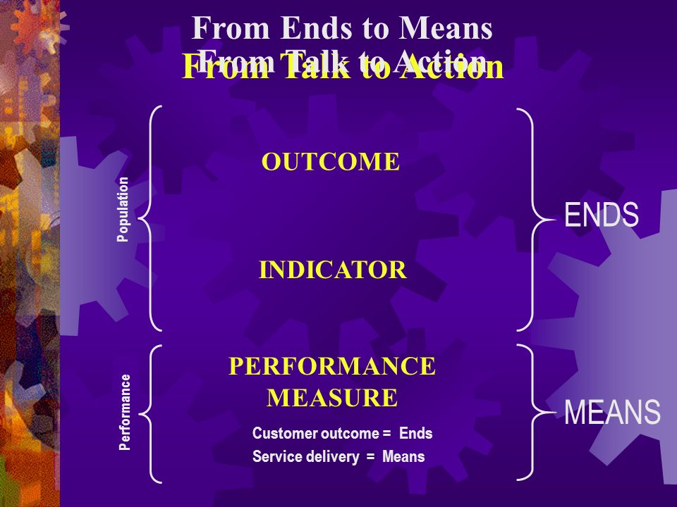 From Talk to Action From Ends to Means From Talk to Action ENDS MEANS