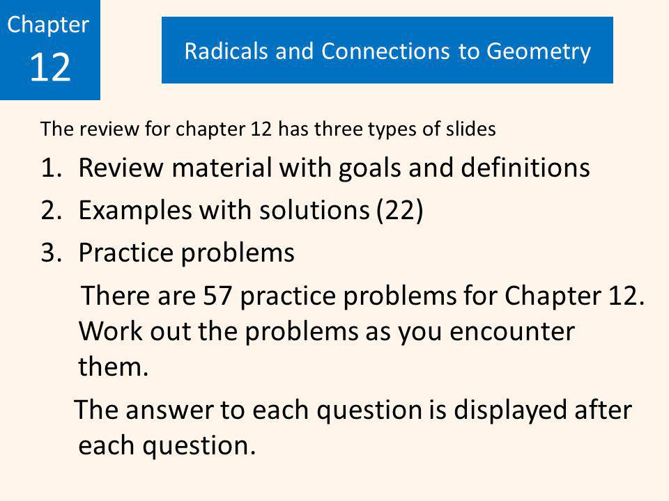 Chapter 12 Radicals And Connections To Geometry Review Ppt