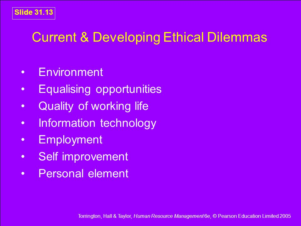 Current & Developing Ethical Dilemmas