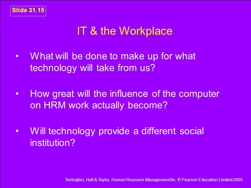 IT & the Workplace What will be done to make up for what technology will take from us