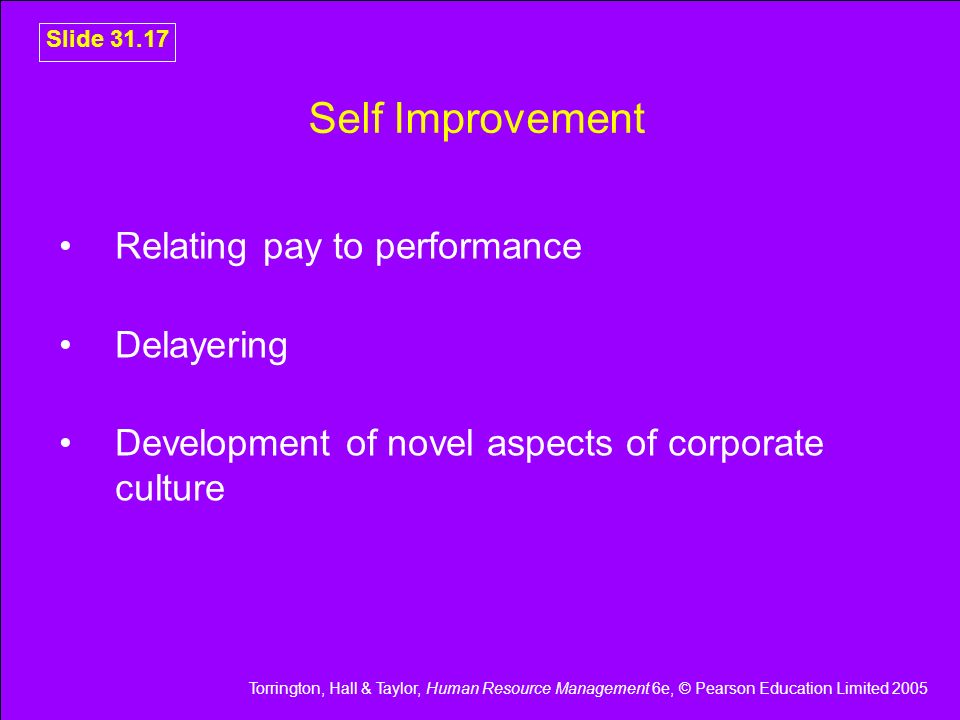 Self Improvement Relating pay to performance Delayering