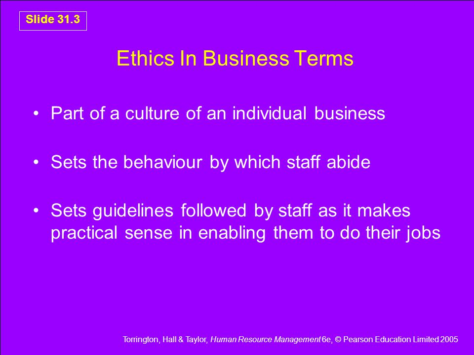 Ethics In Business Terms
