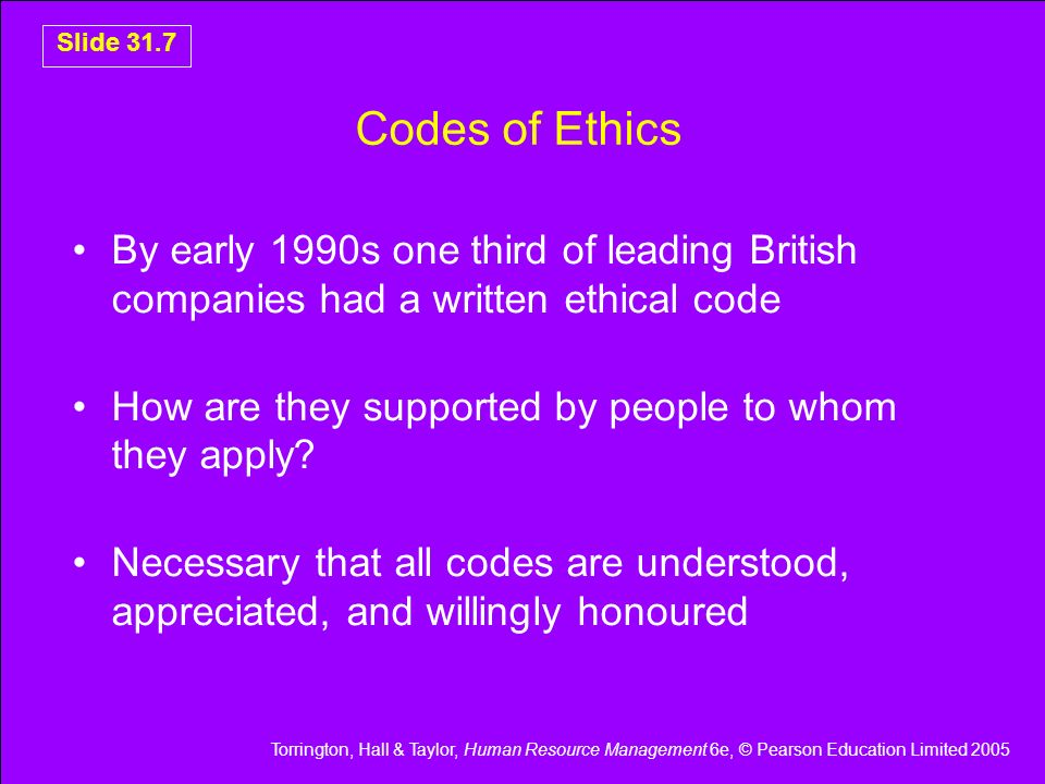 Codes of Ethics By early 1990s one third of leading British companies had a written ethical code.
