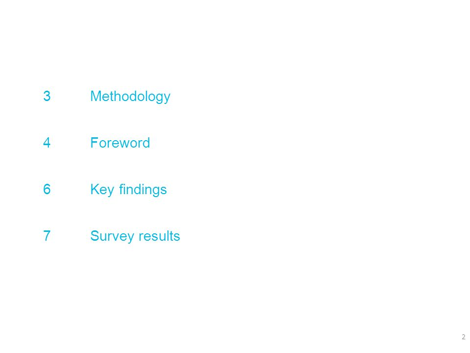 3 Methodology 4 Foreword 6 Key findings 7 Survey results