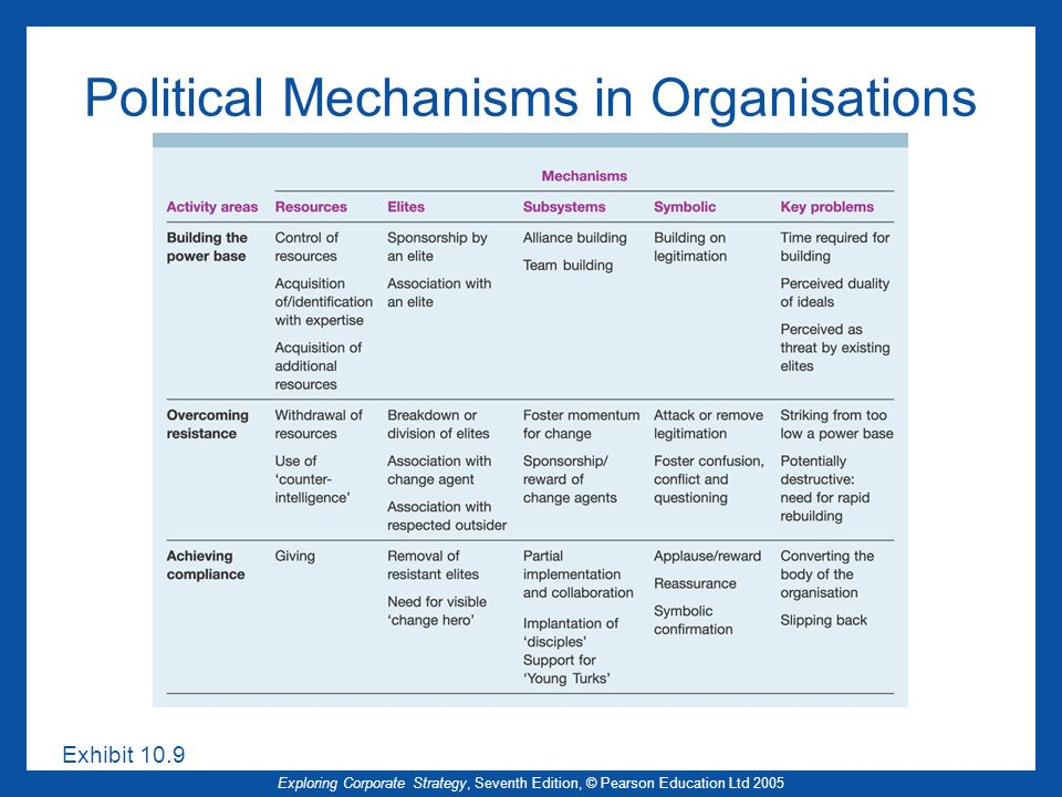 Political Mechanisms in Organisations
