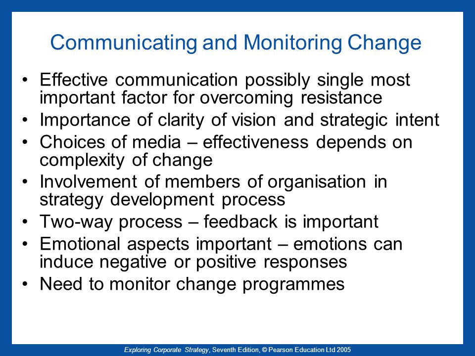 Communicating and Monitoring Change