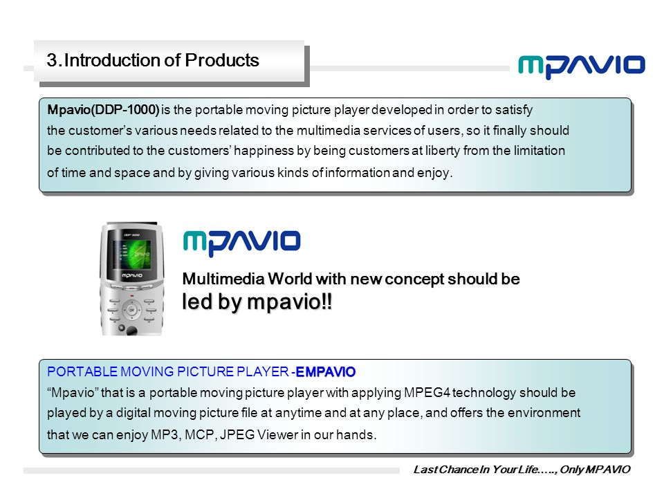 led by mpavio!! 3.Introduction of Products
