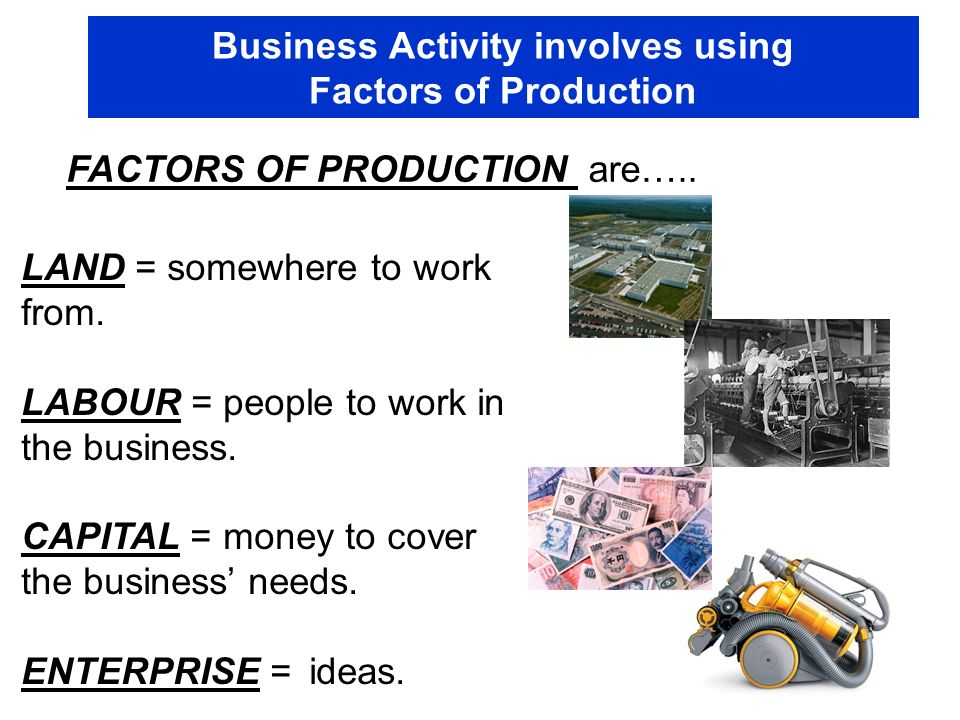 Business Activity involves using Factors of Production