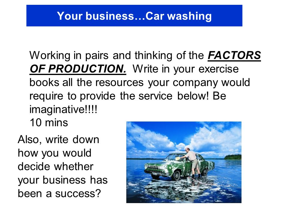 Your business…Car washing