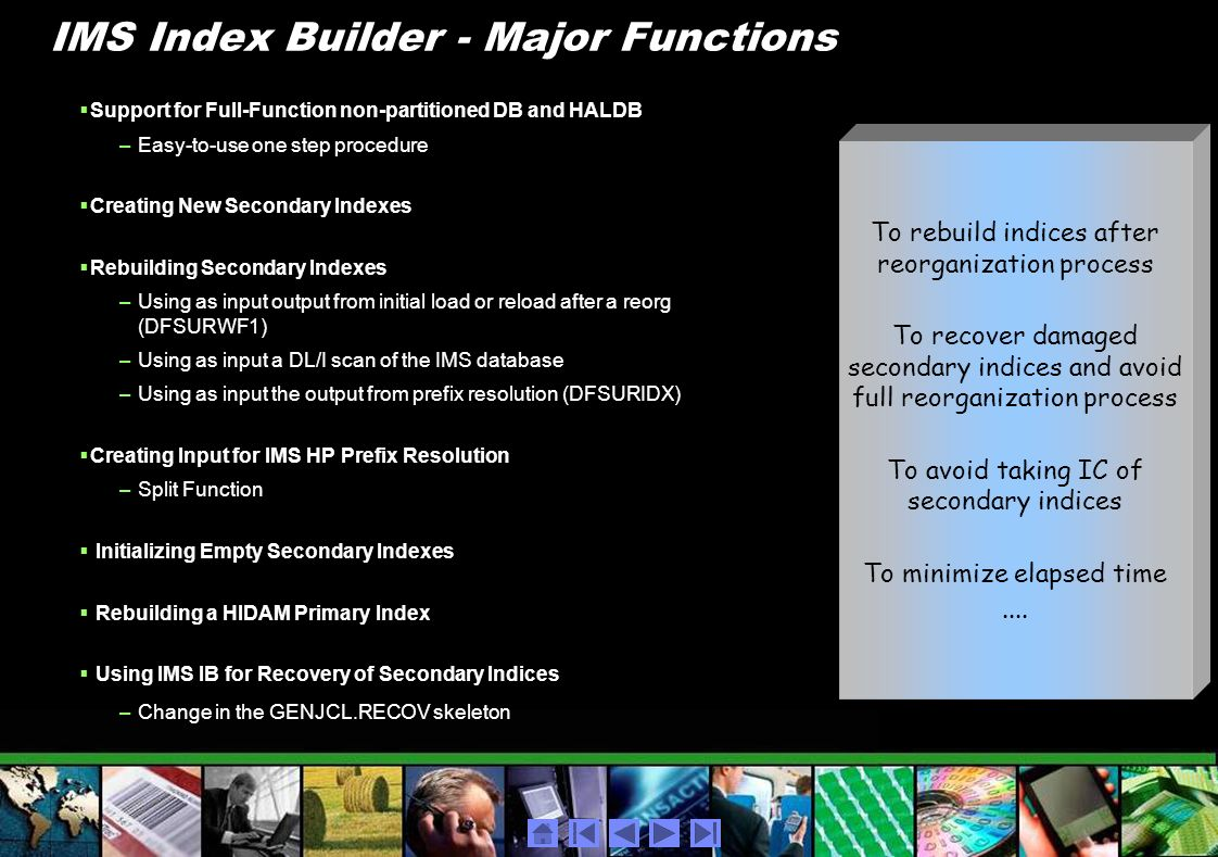 IMS Index Builder - Major Functions