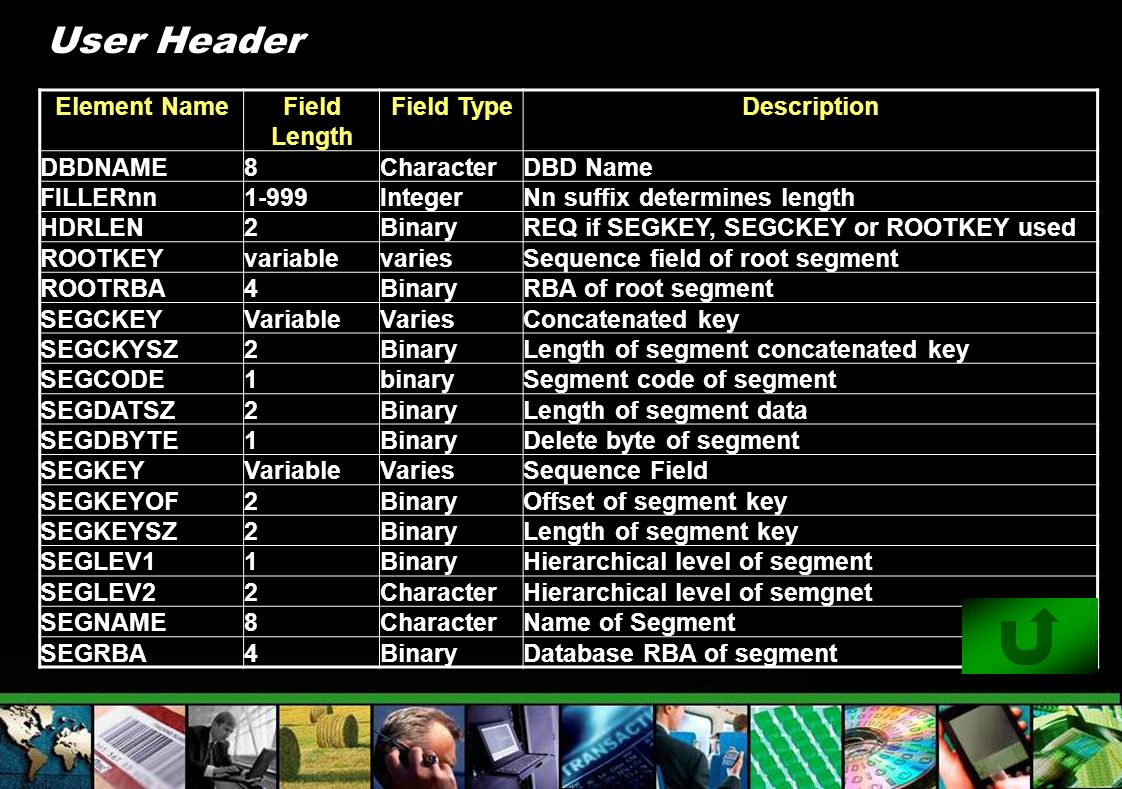 User Header Element Name Field Length Field Type Description DBDNAME 8