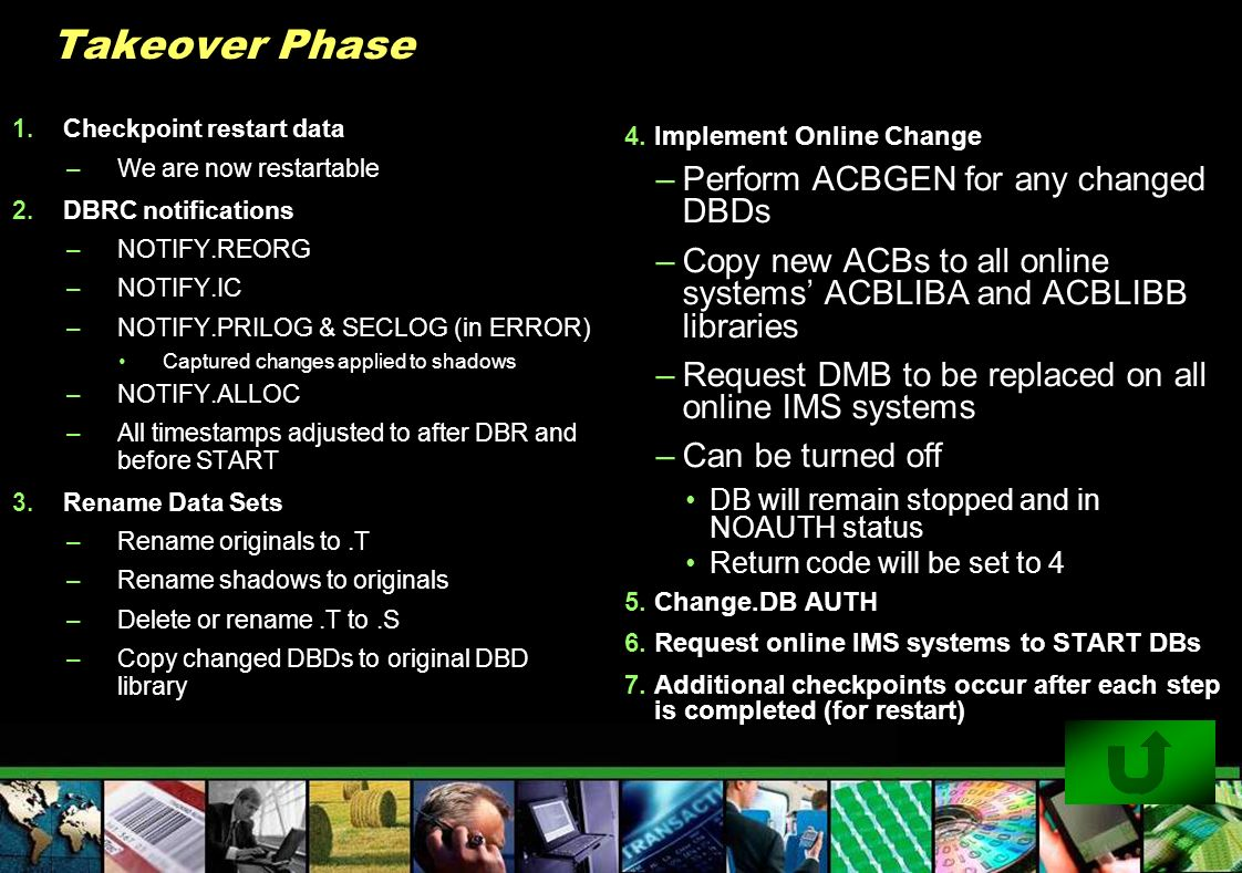 Takeover Phase Perform ACBGEN for any changed DBDs