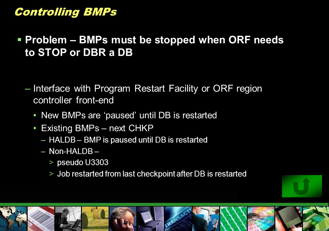 Controlling BMPs Problem – BMPs must be stopped when ORF needs to STOP or DBR a DB.