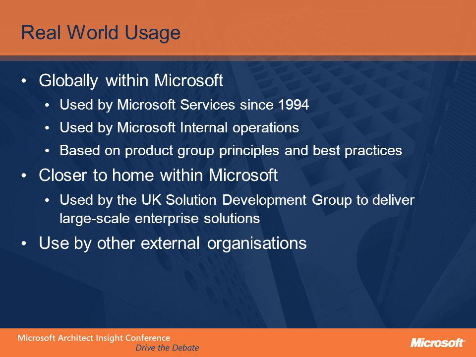 Real World Usage Globally within Microsoft
