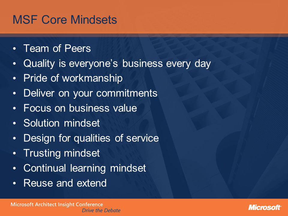 MSF Core Mindsets Team of Peers