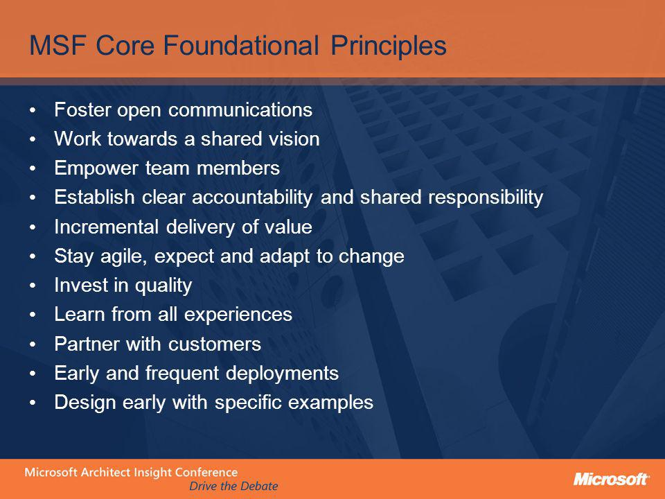 MSF Core Foundational Principles