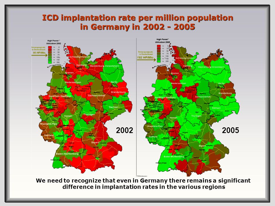 ICD implantation rate per million population in Germany in 2002 - 2005