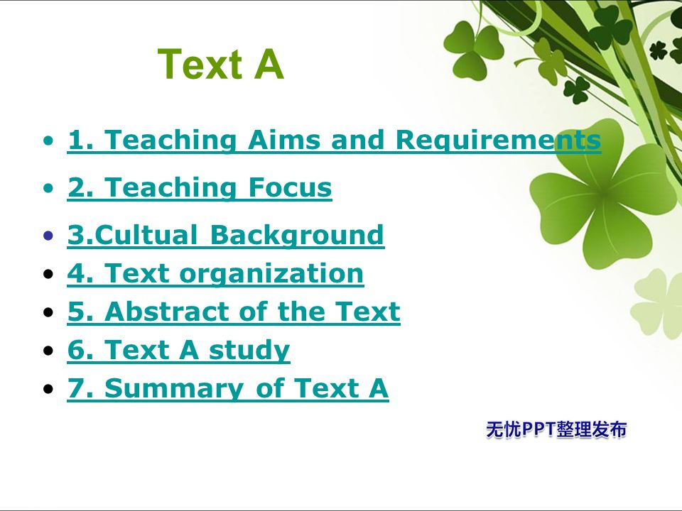 Text A 1. Teaching Aims and Requirements 2. Teaching Focus