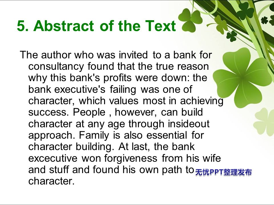 5. Abstract of the Text