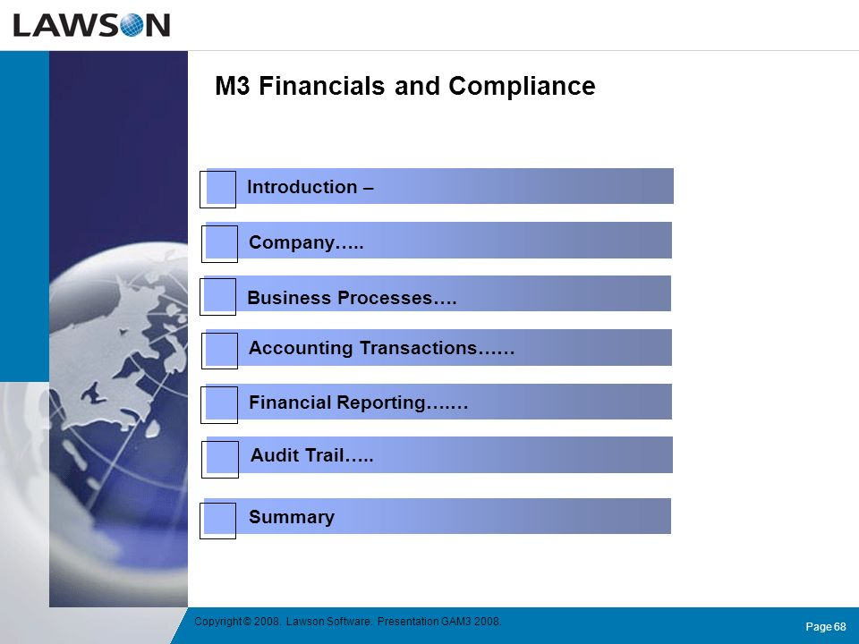 M3 Financials and Compliance