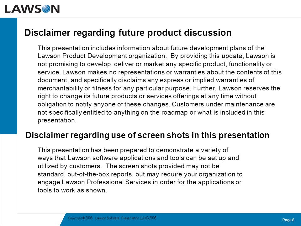 Disclaimer regarding future product discussion