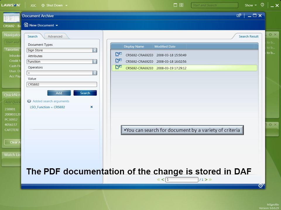 The PDF documentation of the change is stored in DAF