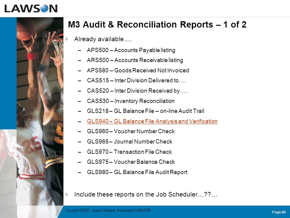 M3 Audit & Reconciliation Reports – 1 of 2