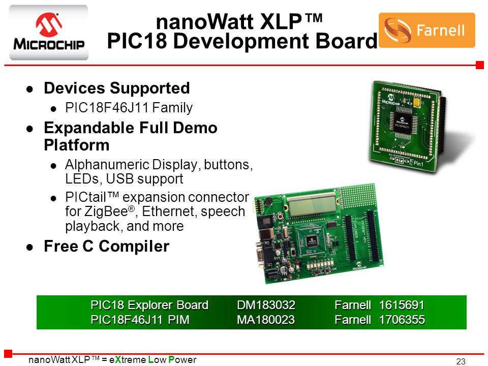 nanoWatt XLP™ PIC18 Development Board