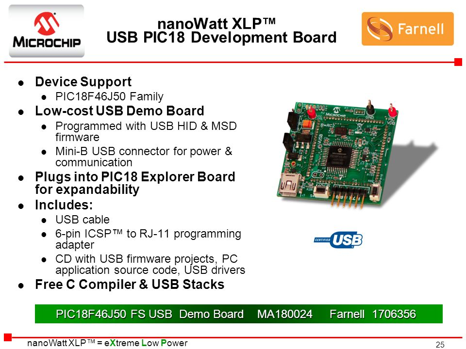 nanoWatt XLP™ USB PIC18 Development Board