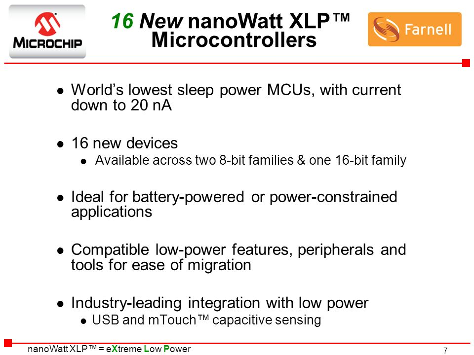16 New nanoWatt XLP™ Microcontrollers