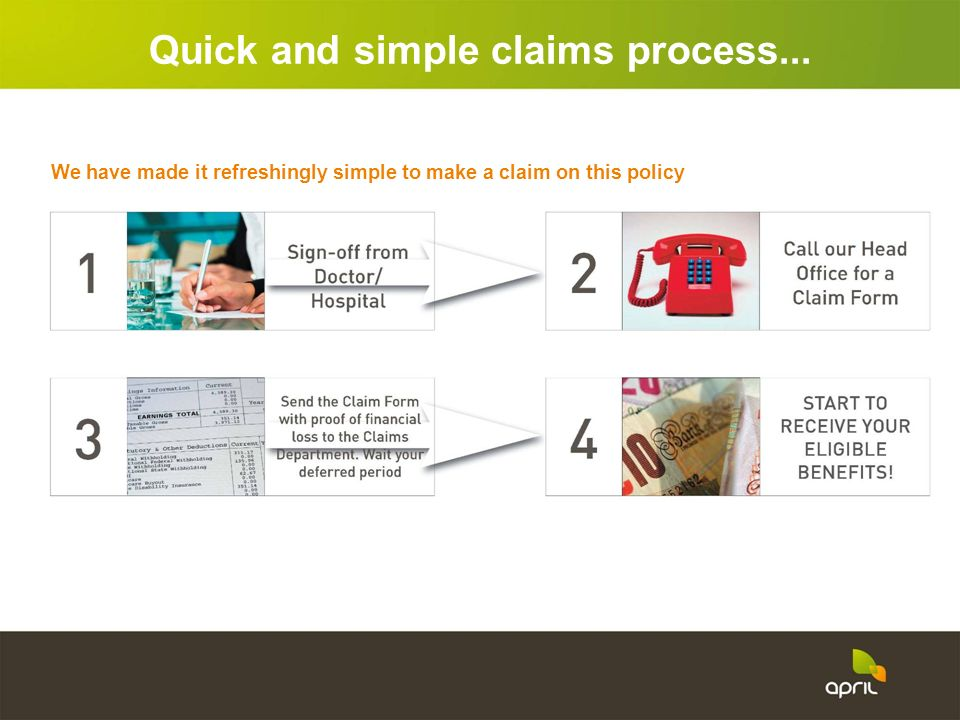 Quick and simple claims process...