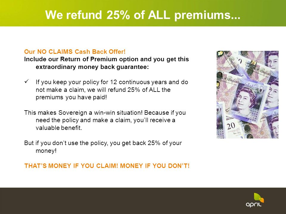 We refund 25% of ALL premiums...