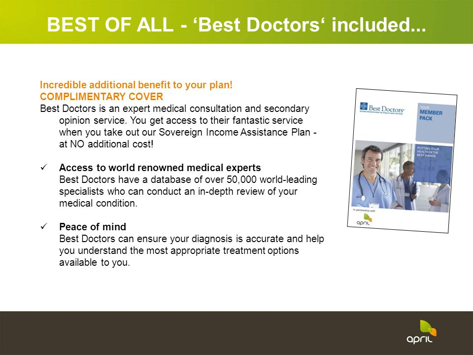 BEST OF ALL - 'Best Doctors' included...