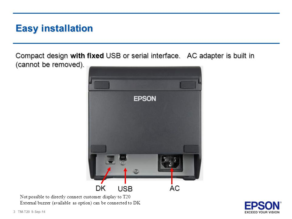 Easy installation Compact design with fixed USB or serial interface. AC adapter is built in (cannot be removed).