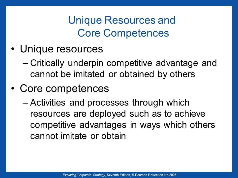 Unique Resources and Core Competences