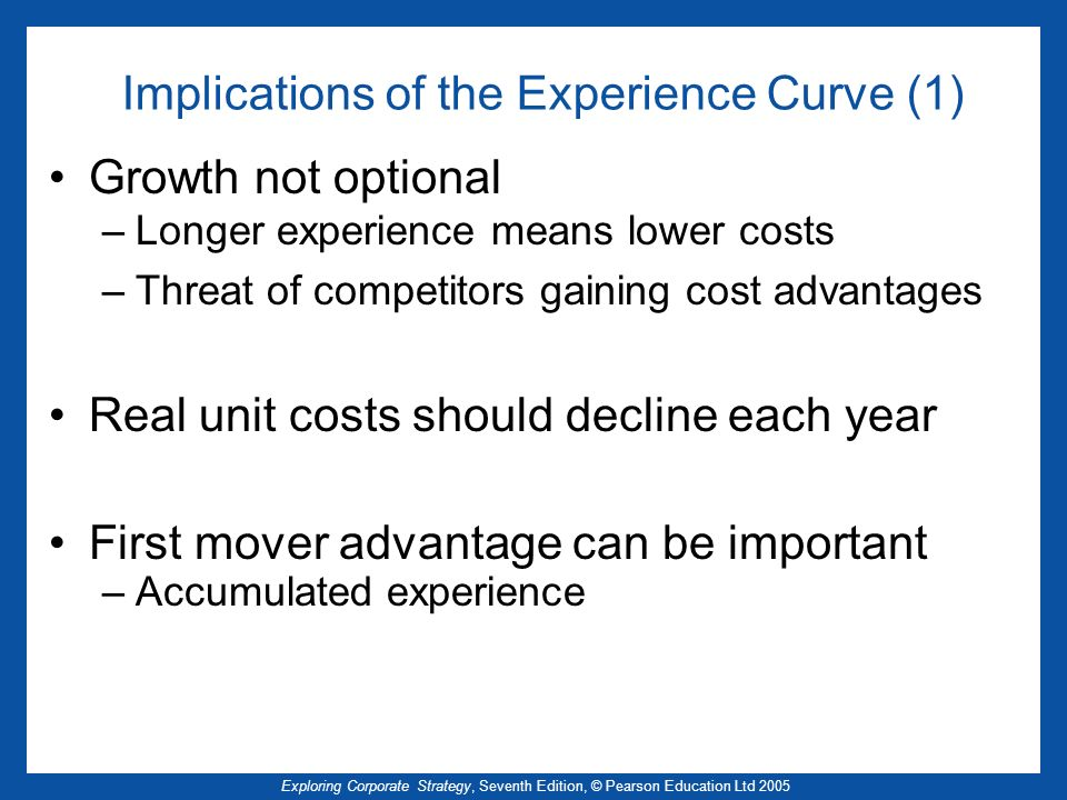 Implications of the Experience Curve (1)