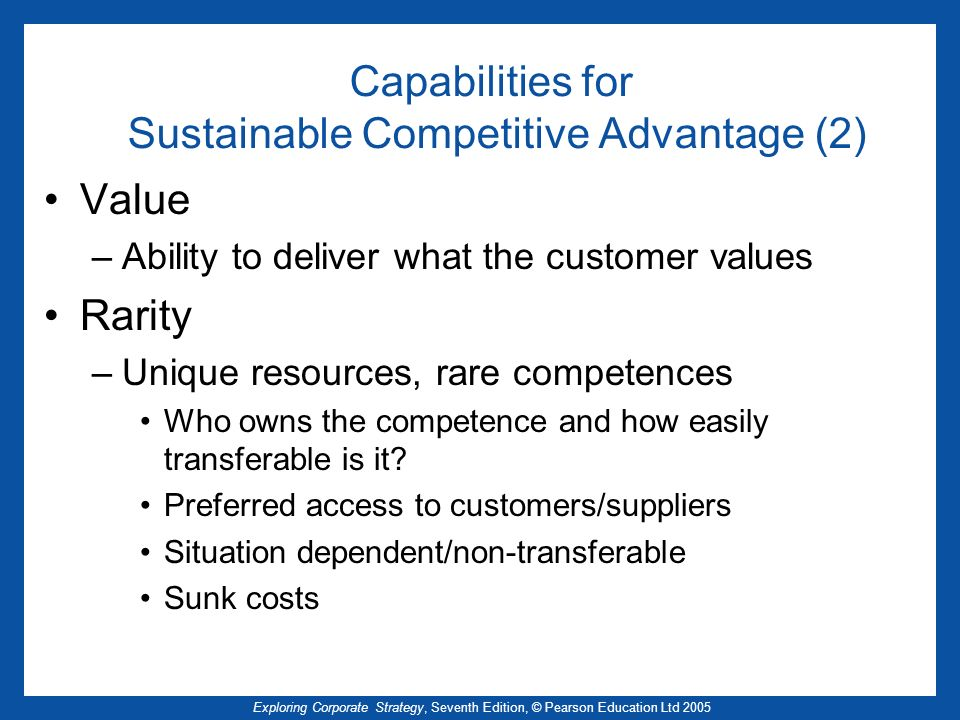 Capabilities for Sustainable Competitive Advantage (2)