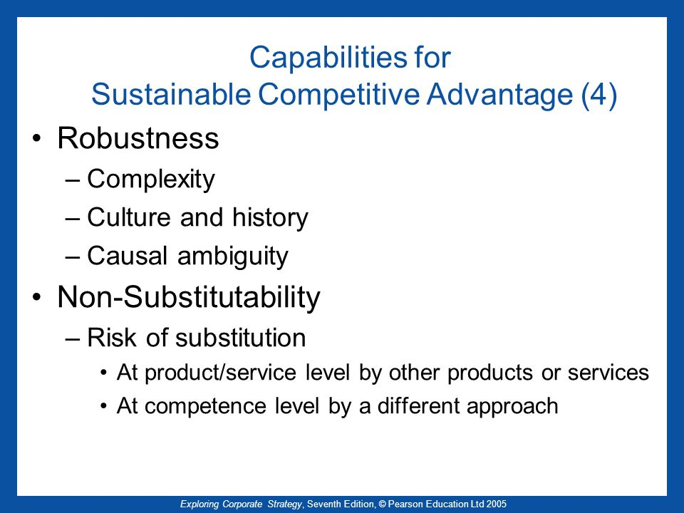 Capabilities for Sustainable Competitive Advantage (4)