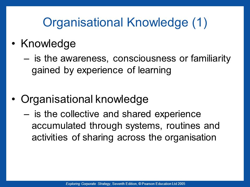 Organisational Knowledge (1)