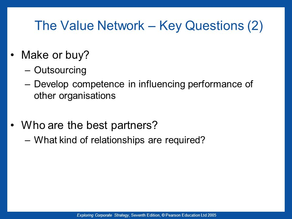 The Value Network – Key Questions (2)