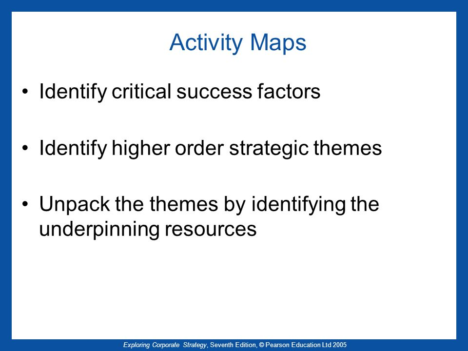 Activity Maps Identify critical success factors