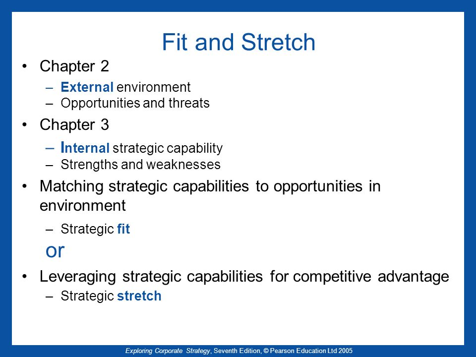 Fit and Stretch or Chapter 2 Chapter 3 Internal strategic capability