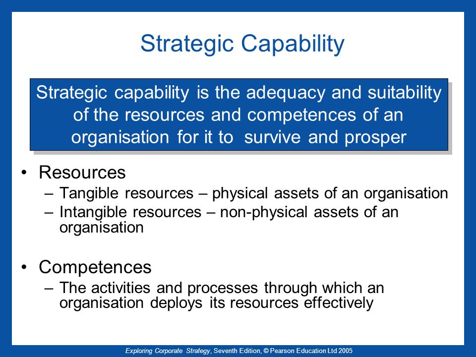 Strategic Capability Strategic capability is the adequacy and suitability. of the resources and competences of an.