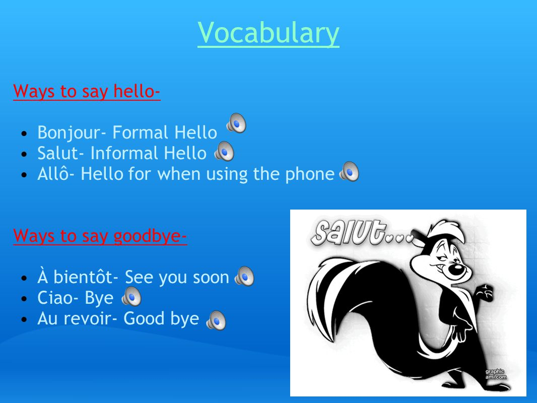 Vocabulary Ways to say hello- Bonjour- Formal Hello