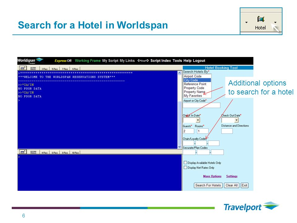Search for a Hotel in Worldspan