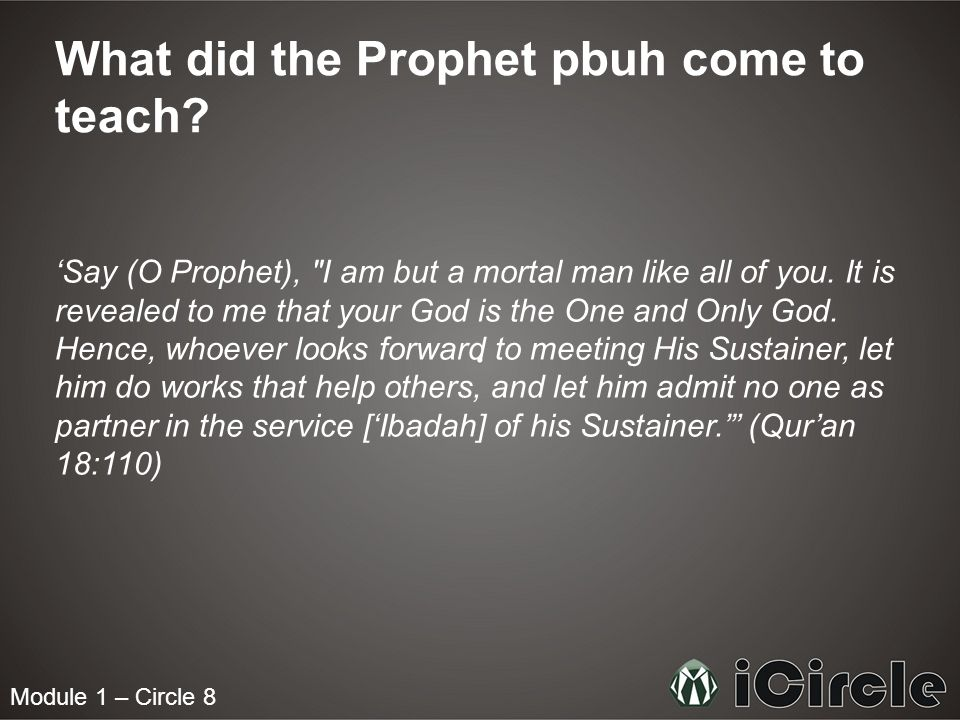 What did the Prophet pbuh come to teach