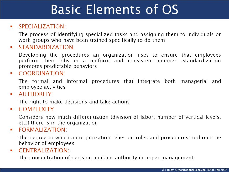 Basic Elements of OS SPECIALIZATION: