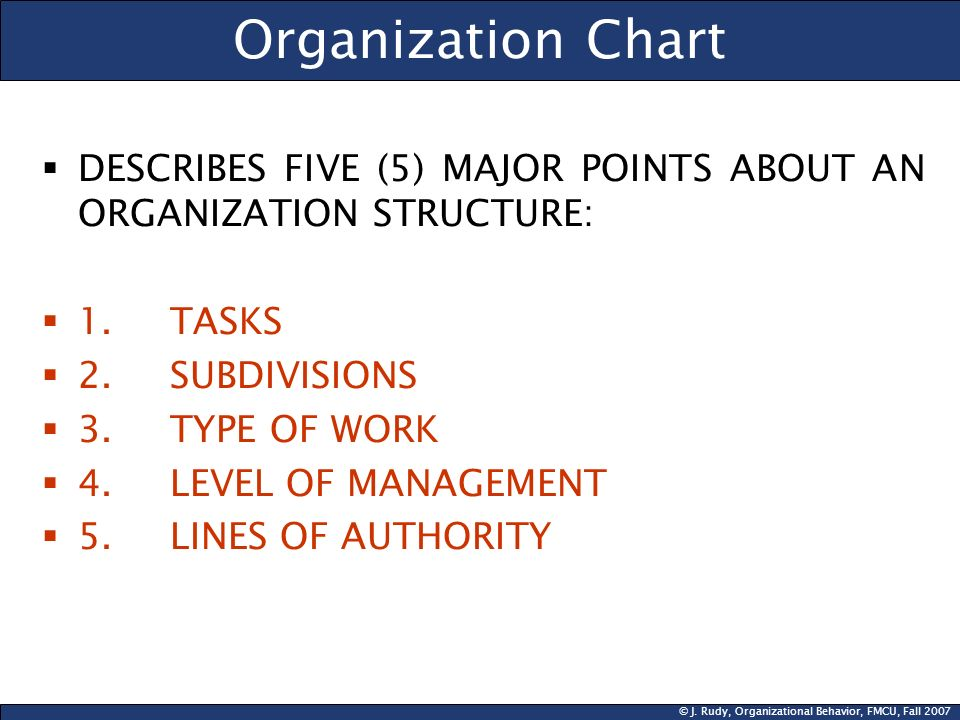 Organization Chart DESCRIBES FIVE (5) MAJOR POINTS ABOUT AN ORGANIZATION STRUCTURE: 1. TASKS. 2. SUBDIVISIONS.
