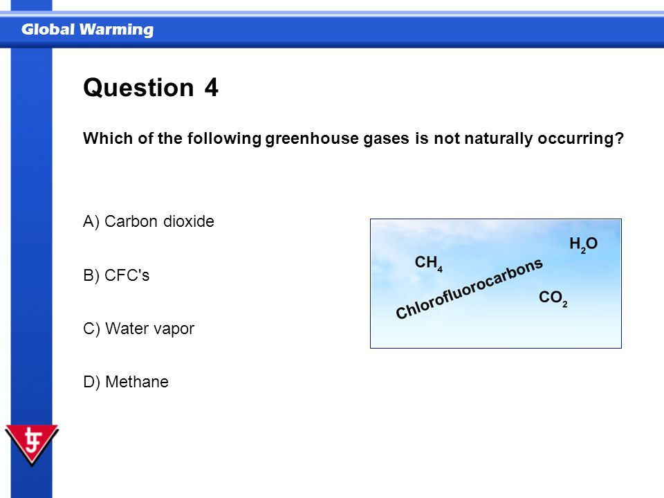 Question 4. Which of the following greenhouse gases is not naturally occurring A) Carbon dioxide.
