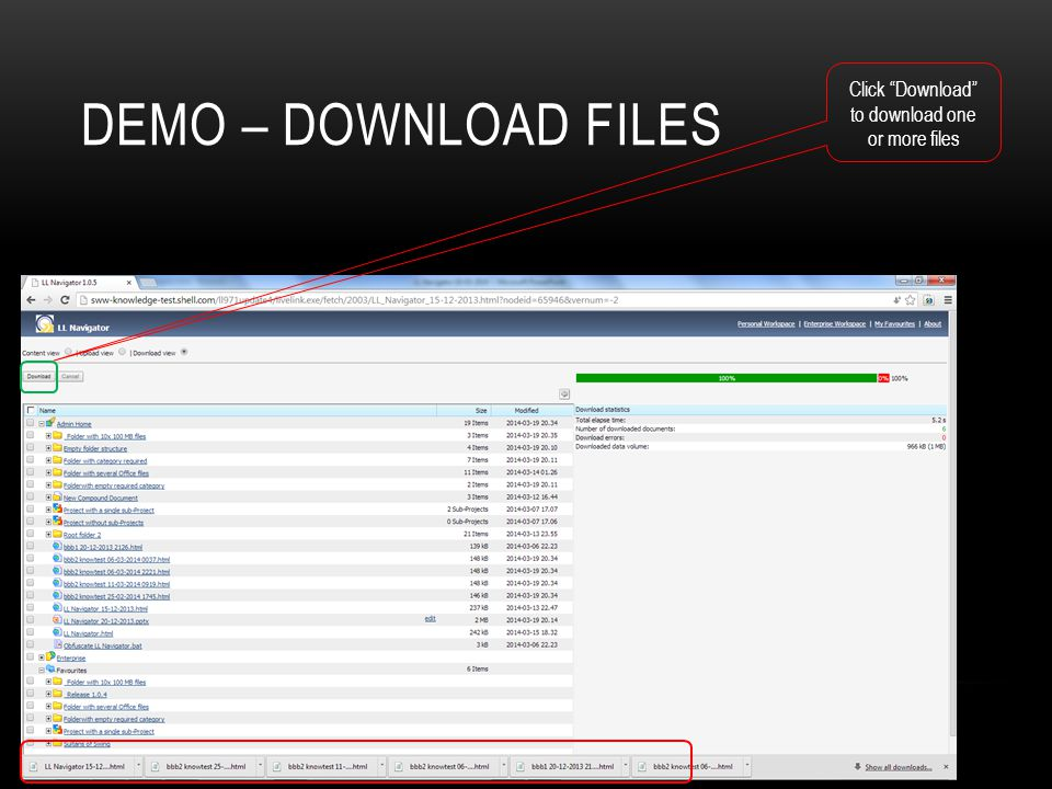 Click Download to download one or more files